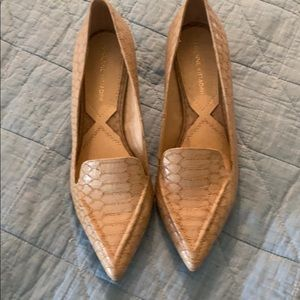 Leather low heeled snake print women's shoes